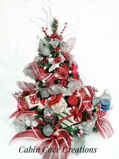 Christmas Tree Centerpiece decorated Holiday by cabincovecreations