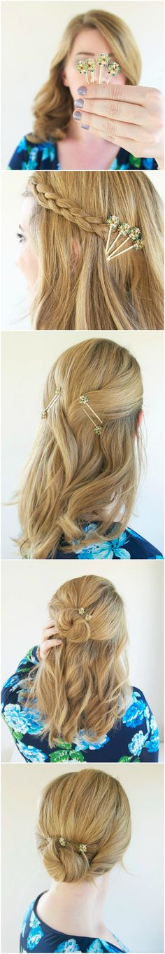 Four easy hairstyles for elegant updos with embellished bobby pins!