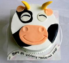 Simple fresh cream cow themed cake with fondant accents! - Cake by Ashel sandeep Cow Birthday Cake, Third Birthday, Cow Cakes, Fondant Cakes, Fresh Cream, Fancy Cakes, Themed Cakes, Birthday Wishes, Cake Decorating