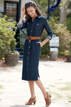 Nothing says 'fall' quite like denim - try on this denim button-up dress!