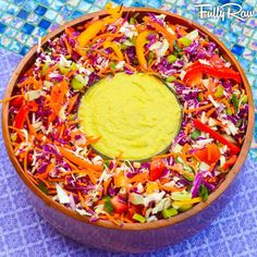 "Rainbow Coleslaw with FullyRaw Mayonnaise!  New video: http://youtu.be/CDoZ5Z-rc6M!  I've put my Texas ""twang"" on this classic recipe, and I've made it even more epic! Delicious, healthy, creamy, and crunchy, this salad is the perfect dish to share!  NEW VIDEO: http://youtu.be/CDoZ5Z-rc6M"