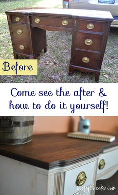 Two Toned Chalk Paint Vintage Desk Redo - Poofy Cheeks