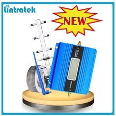 Lintratek pantalla lcd mini gsm 900 mhz repetidor de señal de teléfono móvil, Amplificador de Señal GSM Amplificador + Antena Yagi con 10 m Cable