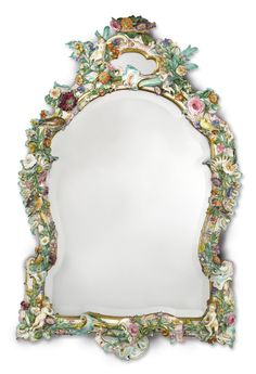 A MEISSEN FLOWER-ENCRUSTED LARGE MIRROR LATE 19TH CENTURY Estimate  20,000 — 30,000
