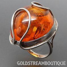 VINTAGE STERLING SILVER HUGE BALTIC AMBER WIRED DESIGN DOME MODERNIST – Gold Stream Boutique