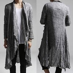 Men Roll Up Sleeve Cardigan Lightweight Linen Designer Vintage Casual Shawl Tops