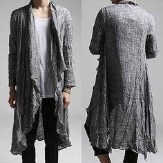 Men Roll Up Sleeve Cardigan Lightweight Linen Designer Vintage Casual Shawl Tops