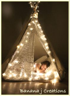 tee pee with lights twinkle twinkle from Banana j Creations