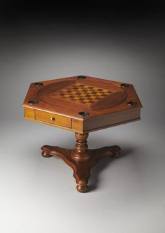 Masterpiece Alexander Olive Ash Burl Hexagonal Game Table