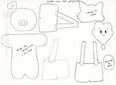 moldes dedoches de feltro - 3 porquinhos                                                                                           Mais