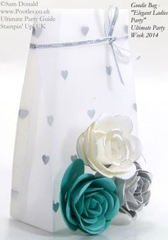 POOTLES Stampin Up UK Ultimate Party Week. Goodie Bag. ELEGANT LADIES THEME. VIDEO on making the roses and also the bag. :))