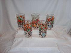 Vintage Glass Optic Ice Tea Lemonade Flower Garden Glasses (5)