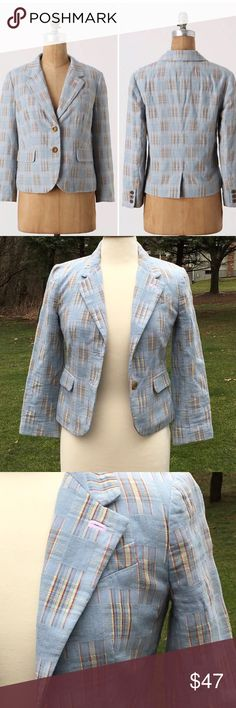"""Daughters of Liberation Fading Madras Blazer Excellent condition, """"Fading Madras Blazer"""" with 2 button closure, 3/4 length sleeves, 3 buttons on sleeves, 2 front pockets, fully lined, notched collar, cropped design, square plaid pattern, 100% cotton.  When flat, armpit to armpit is about 17"""" across; top of shoulder to bottom is about 20""""; underarm to cuff is 14.5"""" ; shoulder to cuff is 20"""" Anthropologie Jackets & Coats Blazers"""