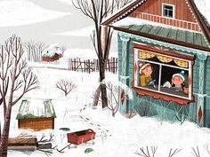 When you want to go out and the weather does not help you❄️ 🌸MATRIOSKA🌸/ SM Cuando quieres salir y el clima no te ayuda❄️ Winter Illustration, Children's Book Illustration, Graphic Design Illustration, Book Illustrations, Illustration Techniques, Christmas Books, Cute Art, Book Design, Illustrators