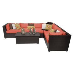 Outdoor TK Classics Barbados Wicker 7 Piece Patio Conversation Set with Coffee Table and 2 Sets of Cushion Covers Tangerine - BARBADOS-07B-TANGERINE