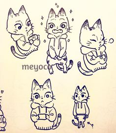 """""""I drew lots of cats yesterday""""  by meyoco on instagram really love her drawing <333"""