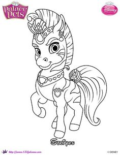 Princess Palace Pets Coloring Page of Stripes | SKGaleana