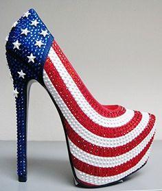 cac9144d007f Alba America-4 Women Rhinestone Crystal Stiletto Heel Platform Almond Toe  American Flag Shoe Pump