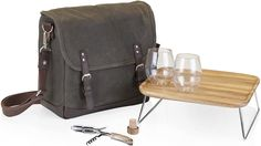 Khaki Green, Green And Brown, Dark Brown, Wood Folding Table, Wine Tote Bag, Wine Carrier, Browns Fans, Picnic Time, Stemless Wine Glasses