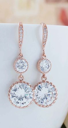 Rose Gold Cubic Zirconia Drop Bridal Earrings from EarringsNation Bridesmaid Gifts Rose Gold Weddings