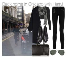 """""""Back home in Chicago with Harry!"""" by directionermixer01 ❤ liked on Polyvore featuring Topshop, rag & bone/JEAN, Ray-Ban, Donna Karan, Forever 21 and Yves Saint Laurent"""