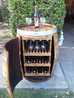 Wine Barrel Wine Rack with door by Forgetmenotdecor on Etsy, $300.00