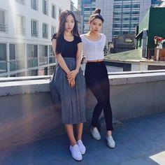 명동점 새로운 직원들인 채린양과 주하양을 소개합니다!  Meet our new employees, Chaerin and Jooha, at the Myeondong store. #AmericanApparel #AAEmployees