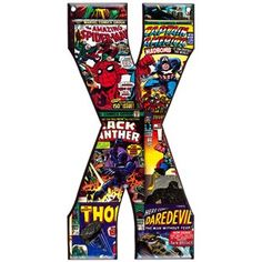 Marvel Superheroes Embossed Tin Letter - X Spider-Man, Captain America, Black Panther, Thor & Dare Devil⎜Open Road Brands