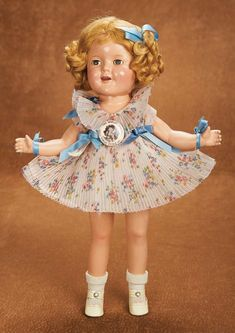 """Remembering Mama: 307 American Composition """"Shirley Temple"""" by Ideal in Rare Pleated Dress"""