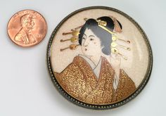 Large Japanese SATSUMA Brooch Pin with a by vintagebitsblitz, $215.00