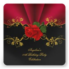 Elegant Roses Deep Red Black Gold Birthday Party Personalized Invitations