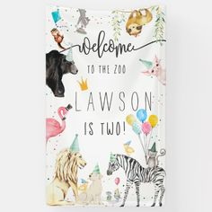 Modern Simple Party Animal Birthday Welcome Banner Animal Themed Birthday Party, 2nd Birthday Party Themes, Birthday Ideas, Party Animal Theme, Birthday Banners, Zoo Birthday Cake, Zoo Party Themes, Party Banners, Birthday Gifts