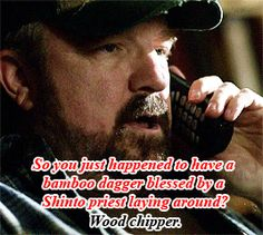 Wood Chipper, Bobby Singer, Priest, Baseball Cards, Shit Happens, Movie Posters, Fictional Characters, Film Poster, Fantasy Characters