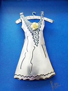 3 D embossed pewter dress made by Lee @ The Pewter Room
