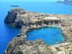The unique Lindos beach in #Rhodes #Greece