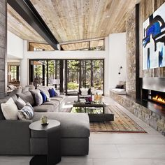 Off - centered fireplace with seating bench - just like I was looking for
