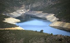 Very low water in El Atazar's reservoir near El Berrueco in Madrid, on March 16, 2012.