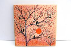 Easter Gift Home Decor Mosaic Wall Art Original Painting Birds On a Tree EggShell Mixed Media Mosaic Collage Wall Orange Red Black Fall Gift