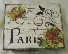 caixa-mdf-paris-vintage Garden Accessories, Wood Projects, Stencils, Painting, Invitations, Drawings, Diy, Ideas, Home Decor