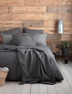 Deep dark charcoal bed linen woven from 100% cotton with the softest laundered finish.