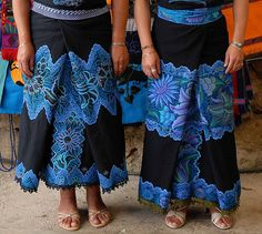 Gorgeous blue embroidery in Chiapas, Mexico for the Fiesta of San Lorenzo