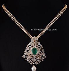 Indian jewellery and clothing diamond pendant set from naksha diamond pendant with swarovski beads set aloadofball Choice Image