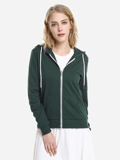 6c9407ee7da Spring Women Contrast Drawstring Zip Up Fleece Hoodie Letter Prints Punk  Casual Hooded Sweatshirt. Hooded Sweatshirts ...