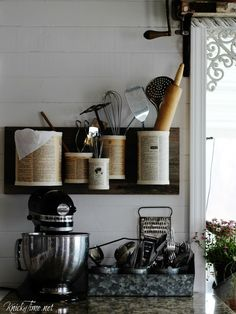 Knick of Time | Tin Can Wall Organizer | http://knickoftime.net