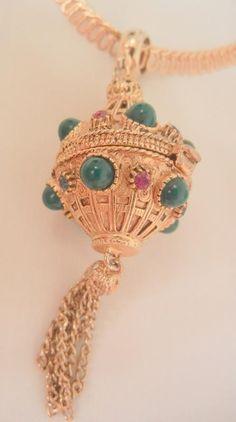 Gorgeous Florenza perfume vinaigrette green cab red blue rhinestone Necklace