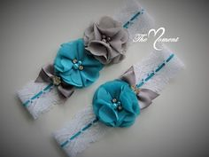 Vintage Style Bridal Garter in White stretch lace/with coral elastic woven through and Turquoise(#6) and Gray (#13) chiffon pearl and rhinestone flowers and a ribbon bow. You can have the garter as is