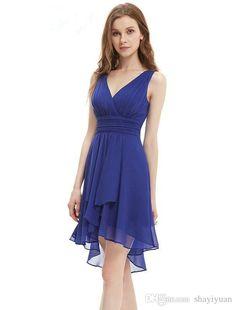 V neck chifon bridesmaid dress