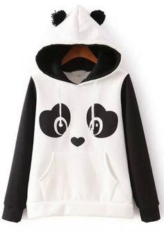 Sudadera con capucha Panda manga larga-blanco
