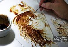 Coffee Art: Awesome Coffee Paintings by Dirceu Veiga http://designwrld.com/coffee-paintings-by-dirceu-veiga/