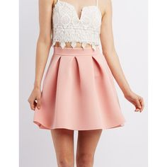 Charlotte Russe Pleated Scuba Skirt ($23) ❤ liked on Polyvore featuring skirts, blush, flared skirt, charlotte russe, pink skirt, knee length pleated skirt and pleated skirt